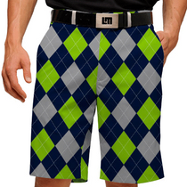 Loudmouth Golf Mens Shorts - SeaGuile (Blue, Silver & Sea Green Argyle)