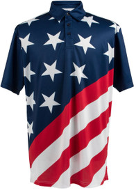 ReadyGOLF Mens Golf Polo Shirt - USA Flag