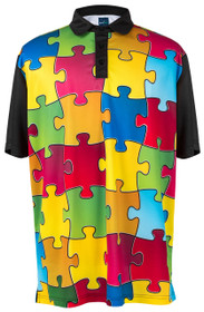 ReadyGOLF Mens Golf Polo Shirt - Puzzled