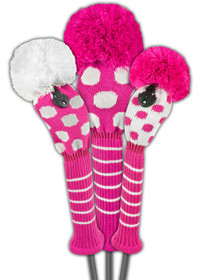 Just 4 Golf - Dot Headcover Set - Pink and White