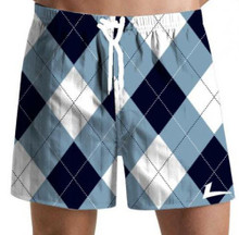 Loudmouth Golf: Men's Swim Trunks - Blue & White