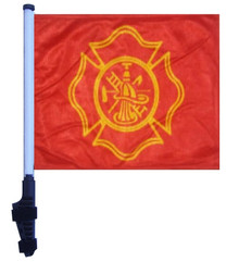 FIRE DEPT MALTESE CROSS 11x15 inch Golf Cart Flag with Pole