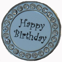NAVIKA Ball Marker & Hat Clip - HAPPY BIRTHDAY - White