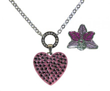 NAVIKA Swarovski Crystal Ball Marker & Necklace - Pink Heart & Orchid