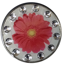 BELLA Swarovski Crystal Exchange Ball Marker & Hat Clip - Daisy Red Clear