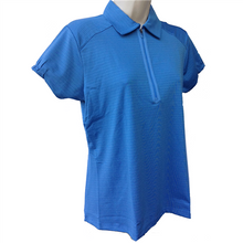 Nancy Lopez Golf Ladies Short Sleeve Polo - Flare - Blue - Medium