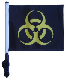 BIOHAZARD YELLOW 11x15 inch Golf Cart Flag with Pole