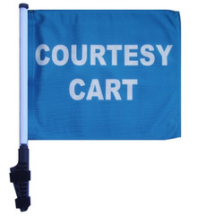 COURTESY CART 11x15 inch Golf Cart Flag with Pole