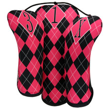 BeeJo's - Hot Pink and Black Argyle Golf