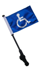 HANDICAP Small 6x9 inch Golf Cart Flag with EZ On/Off Pole Bracket
