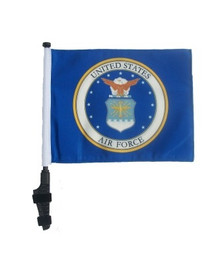 LICENSED Air Force Coat of Arms 11x15 inch Golf Cart Flag with Pole