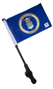 LICENSED AIR FORCE COAT OF ARMS Small 6x9 inch Golf Cart Flag with EZ On/Off Pole Bracket