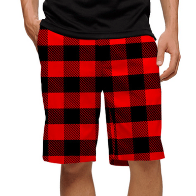Lumberjack Red & Black Plaid Mens Golfing Shorts by Loudmouth Golf
