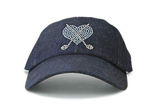 Dolly Mama Ladies Baseball Hat - Crossed Club Heart on Demin