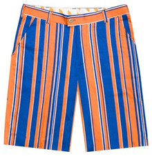 Loudmouth Golf Mens Shorts - Orange & Blue Stripe