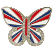 Union Jack Red White & Blue Butterfly Buckle by Druh Belts