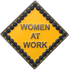 ReadyGolf - Caution Women At Work Ball Marker & Hat Clip with Crystals