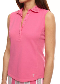 Golftini Womens Golf Sleeveless Eyelet Polo Hot Pink - SALE