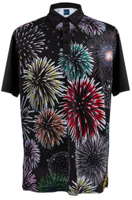 ReadyGOLF Mens Golf Polo Shirt - Fireworks