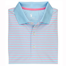 Fairway & Greene Men's Polo - Hoover Stripe Tech Jersey - Independence Blue - Small - SALE