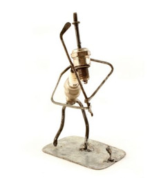 Swahili African Modern Recycled Spark Plug Golfer Sculptures - Swing