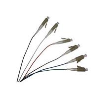 3 Meter, 6 Fiber, color coded 900um LC/UPC 50/125 OM3 10 Gig Multimode Fiber Pigtails