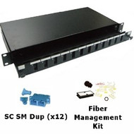 12 Port Singlemode SC Duplex 1U Sliding Patch Panel w/ Fiber Management Kit