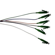 3 Meter, 6 Fiber, color coded 900um LC/APC 9/125 Singlemode Fiber Pigtails