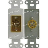 CLOSEOUT - No Returns On DISCONTINUED Items, High Quality XLR Male Wallplate - Decorative, Gold Plated, Solder