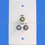 CLOSEOUT - No Returns On DISCONTINUED Items, Covid Aluminum Wall Plate, Composite Audio/Video (3x RCA), White Powder Coated