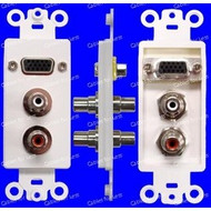 VGA Single HD15 And Stereo RCA Red And White Female To Female Wall Plate, White