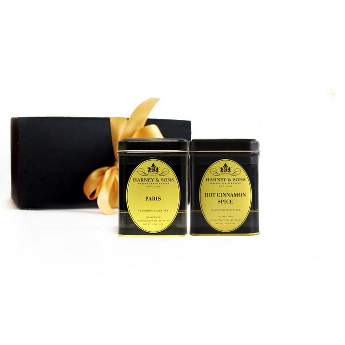 This gift set contains: Hot Cinnamon Spice 4 oz loose tea and Paris 4 oz loose tea