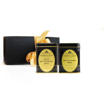 The gift set contains two luxurious looking 4 oz tins of whole-leaf loose tea.