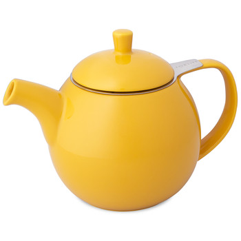 Ceramic Curve Teapot with Infuser, Mandarin (24 oz)