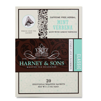 Harney & Sons Mint Verbena Herbal Tea 20 Wrapped Sachets