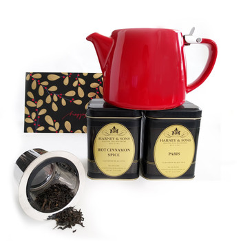 This gift set includes Harney & Sons best selling tea flavours in 4 oz loose tea, red teapot with infuser and a greeting card.