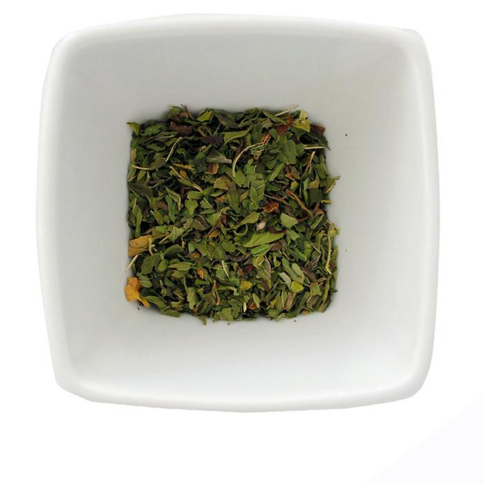 Loose-leaf peppermint herbal tisane.