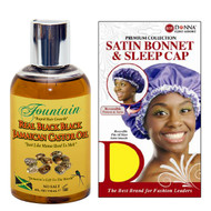 Fountain Real Black Black Jamaican Castor Oil & Satin Cap Combo
