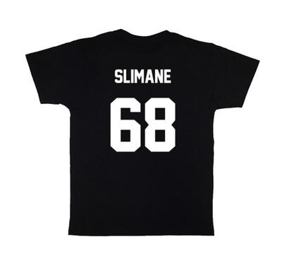 Black SLIMANE68 Football Tee