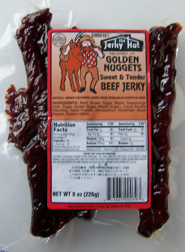 Jerky Hut Sweet and Tender Klondike Kal. Our signature product is made with Jerky Hut prime cut beef. The taste is mild, sweet and tender. Tastes like a barbecue rib without the bone