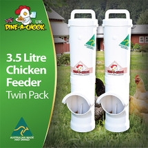 Dine a Chook is an Australian brand of chicken feeders that are proudly found in over 30,000 backyards all over the world. While we continue to ship our products to the UK on a daily basis we are now pleased to have a distributor strategically located in Ireland that will be able to service our UK, Ireland and many other European customers more efficiently. This package is for two of our smaller feeders which are 545mm in overall height. Enjoy the many long term benefits of installing a Dine a Chook automatic feeder for your backyard chickens today