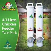 4.7 Litre Chicken Feeder Twin Pack. A heavy-duty feeder ideal for the backyard chicken coop. For sale by Dine a Chook, this feeder will outlast any other.