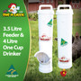 3.5 Litre Chicken Feeder and 4 Litre Chicken Drinker. This is Dine a Chook's best-selling backyard poultry Feeder and Drinker kit. Made in Australia, no backyard chicken coop is complete without it!