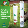 4.7 Litre Chicken Feeder and 4 Litre Chicken Drinker. Keep your girls happy with Dine a Chook's Poultry Feeder and Waterer kit. Made in Australia, this is the best automatic system for small flocks.