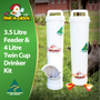 3.5 Litre Chicken Feeder and 4 Litre Twin Cup Chicken Drinker.  This kit is essential for backyard flocks of 8 to 10 birds. Made in Australia by Dine a Chook and guaranteed to save you time and money.