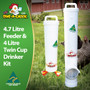 4.7 Litre Automatic Chicken Feeder and 4 Litre Twin Cup Chicken Drinker. The best Dine a Chook kit for medium flocks. All poultry supplies made in Australia and dispatched to the UK from Ireland.