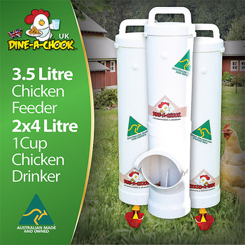 Chicken feeding just got a whole lot easier, cleaner and cheaper. Install this quality chook feeder and drinker set in your chicken coop today and enjoy maximum feed savings with less waste and a significant reduction in pest birds, rats and other rodents. This kit contains one feeder, two drinkers and suits up to 8 hens in an urban chicken coop or free range setting