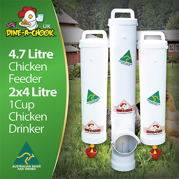 No we don't sell chickens but we do sell the best backyard chicken feeders and drinkers that money can buy. Purpose built to ensure minimal wastage, clean water and ease of use. Get your kids involved and show them that keeping chickens is fun and that we can enjoy fresh eggs from our own backyard. This kit, consisting of a large Dine a Chook chicken feeder and two top quality drinkers which is a must have product for any backyard chicken coop