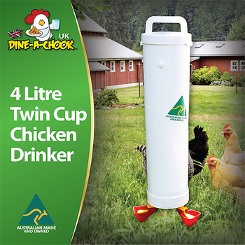4 Litre Twin Cup Chicken Drinker. Avoid mess and leaks with our high-quality PVC waterer, designed to keep your chicken coop clean and dry. Made in Australia by Dine a Chook. Reduce the work of keeping backyard poultry.