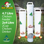 Everything you need to ensure that your hens will be fed and watered while you have a weekend away. This Weekender Kit contains a 4.7 Litre Automatic Chicken Feeder and two 4 Litre Twin Cup Chicken Waterers. Made in Australia for Dine a Chook Chicken Feeders, UK.